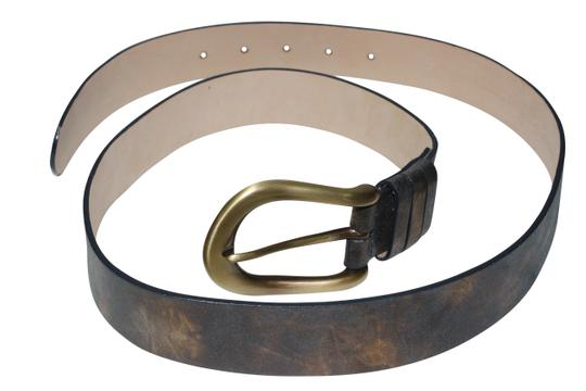 Streets Ahead Streets Ahead Women's Satin Brass Buckle Leather Hip Belt (Blue/Gold) USA Made-M