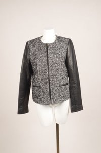 GERARD DAREL Black White Textured Knit Leather Sleeve Jacket