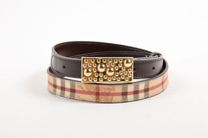 Burberry Burberry Tan Brown Gold Tone Leather Plaid Horse Logo Textured Buckle Belt