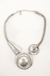 Vintage Silver Tone Clear Geometric Circle Statement Necklace