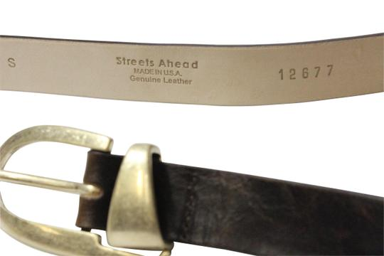 Streets Ahead Streets Ahead Brown Leather Oval Buckle Belt Style: 12677 USA Made-Medium/Large