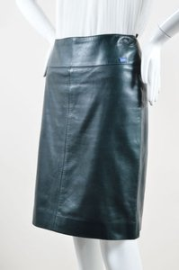 Chanel 04a Grey Leather Straight Skirt Blue