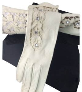 White Leather and Lace Gloves Leather and Lace, Swarovski Designed Leather Gloves