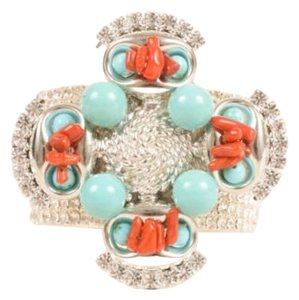 Lawrence Vrba Silver Tone Turquoise Red Rhinestone Beaded Cuff Bracelet