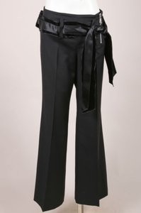 Chloé Chloe Black Wool Velvet Trim Pants