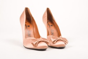 Lanvin Dusty Pink Satin Bow Pumps