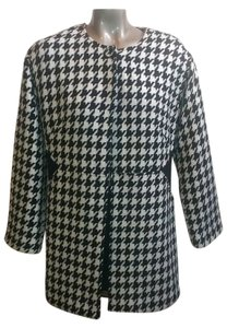 Laundry by Shelli Segal Thin Coat Long Black & White Blazer