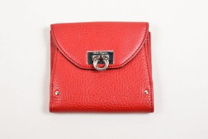Salvatore Ferragamo Salvatore Ferragamo Red Leather Foldover Gancini Coin Purse Bi Fold Wallet