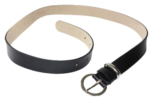 Item - Black Classic Italian Leather with Silver Buckle Belt