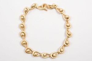 Vintage Matte Gold Tone Toggle Loop Chain Choker Necklace