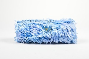 Prada Rectangular Raffia Blue Clutch