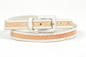 Saint Laurent Vintage Yves Saint Laurent White Tan Snakeskin Skinny Belt