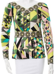 Emilio Pucci Black Green White Top Green, Black, Multicolor
