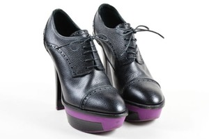 Louis Vuitton Pebbled Leather Sally Lace Up Platform Black Boots
