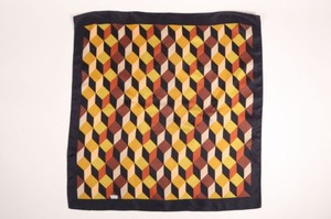 Vintage Liberty London Black Multicolor Woven Geometric Print Square Scarf