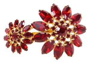 Courtney Lee Collection Red Stone Flower Double Ring