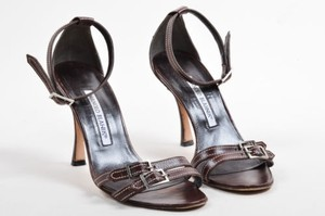 Manolo Blahnik Stitched Brown Sandals