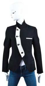 Ys White Linen And Wool Black Jacket