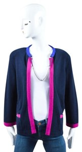 Chanel Navy Fuchsia Cashmere Sweater
