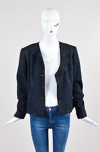 Chanel Navy Blue Woven Knit Asymmetrical Lapel Long Sleeve Black Jacket