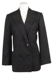 Dior Vintage Christian Dior Black Woven Double Breasted Long Sleeve Blazer Jacket