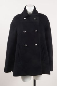 MARTIN GRANT Black Wool Angora Swing Pea Pea Coat