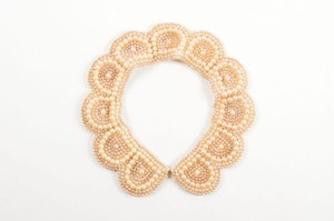 Glentex Vintage Glentex Taupe Beige Beaded Embellished Bib Collar Necklace