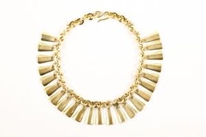 Vintage Gold Tone Dangle Bib Necklace