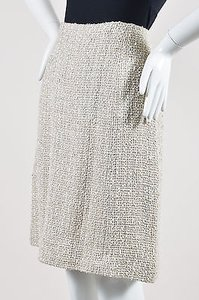 Chanel 99p Woven Tweed A Line Skirt Cream