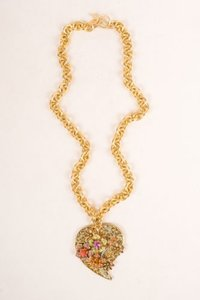 Vintage Les Bernard Inc. Multicolor Rhinestone Heart Filigree Pendant Necklace