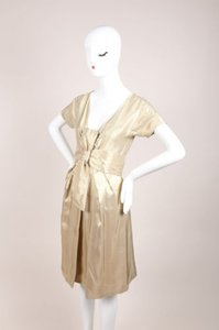 Alexander McQueen Gold Woven Metallic Pleated Short Sleeve Belted Dress