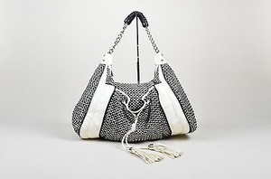 Zac Posen Black White Leather Hobo Bag