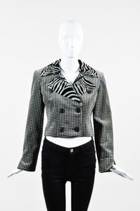 Dior Christian Dior Gray Black Velour Houndstooth Zebra Cropped Blazer Jacket
