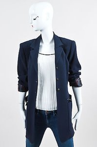 Herms Vintage Navy Wool Zip Button Long Tailored Blue Jacket