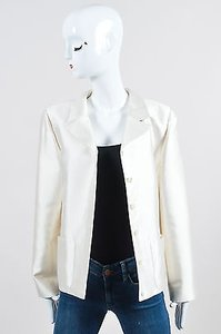 Valentino Vintage Valentino Boutique Cream Silk Blend Ls Blazer Jacket