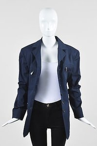 Hermès Vintage Navy Woven Cotton Button Boxy Casual Blue Jacket