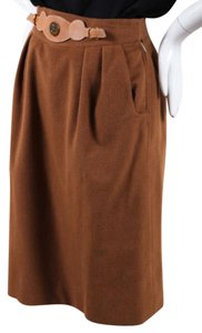Herms Vintage Light Cashmere Leather Belted Pencil Skirt Brown