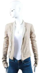 Rick Owens Leather Ribbed Knit Long Sleeve Asymmetrical Zip Beige Jacket