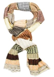 Missoni Foulard Brown Black Cream Cotton Open Knit Scalloped Edge Striped Scarf