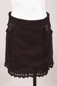 Louis Vuitton Black Eyelet Ruffle Mini Mini Skirt