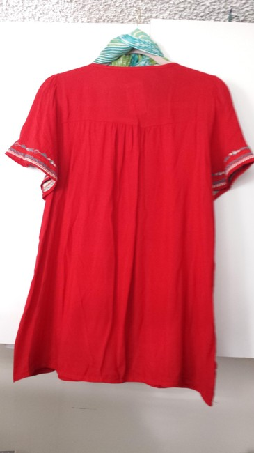 A`postrophe Embroidered Cotton Top Red