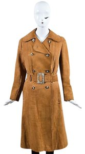 Other Vintage Uhu Camel Suede Double Breasted Belted Trench Coat