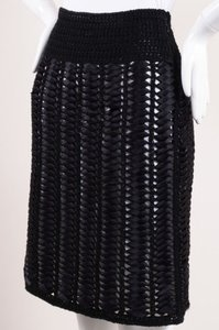 Chanel White Woven Ribbon Crochet Knit Waist Pencil Skirt Black