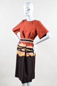 Bottega Veneta Orange Brown Yellow Ramie Ss Striped Belted Dress