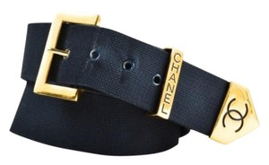 Chanel Vintage Chanel Navy Gold Tone Woven Textile Leather Backing Cc Chanel Belt