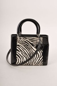 Dior Christian Black White Zebra Pony Hair Leather Lady Top Handle Tote
