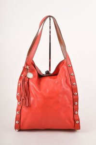 Lanvin Redsilver Studded Trim Tote in Red/Silver