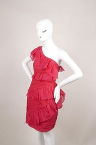 Marchesa Notte Pink Silk Ruffle Ruched One Cocktail Dress