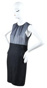Chanel Silk Chiffon Wool Tweed Sleeveless Sheath Dress