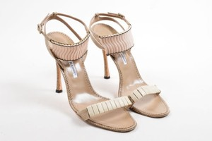Manolo Blahnik Lizard Leather Shell Embellished Heeled Taupe Sandals